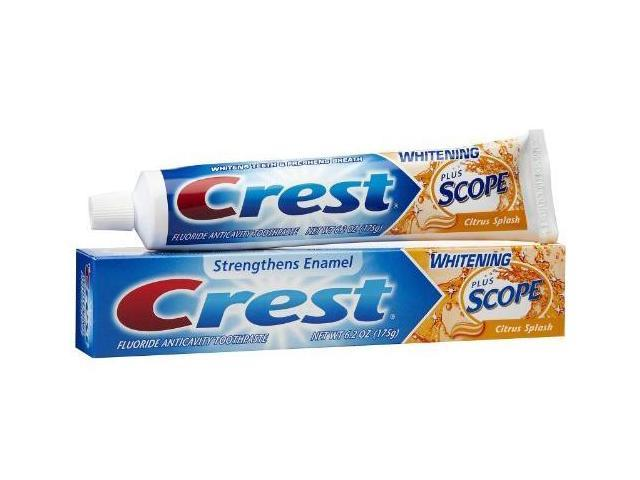 Crest Whitening Plus Scope Toothpaste, Fluoride Anticavity, Citrus Splash, 6.2 oz.