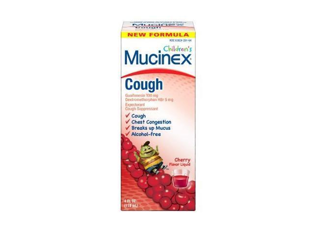 Mucinex Children's Cough Expectorant Cough Suppressant Guaifenesin Dextromethorphan, Cherry, 4 Ounce