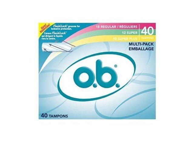 o.b. Tampons Multi-Pack, Variety Pack of 18 Regular, 12 Super, and 10 Super Plus Tampons, 40-Count Boxes (Pack of 3)