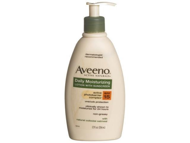 Aveeno Active Naturals Daily Moisturizing Lotion with SPF 15, 12 Ounce Pump Bottle