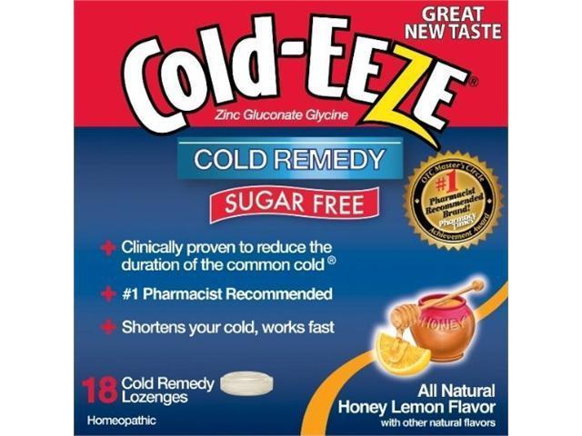 Cold-Eeze Cold Remedy, Sugar Free, Lozenges, Natural Honey Lemon Flavor, 18 ct.
