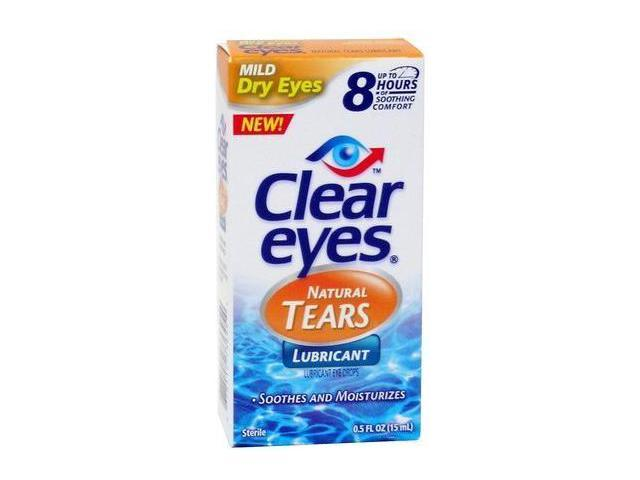 Clear Eyes Natural Tears Eye Drops, Lubricant, .5 oz.