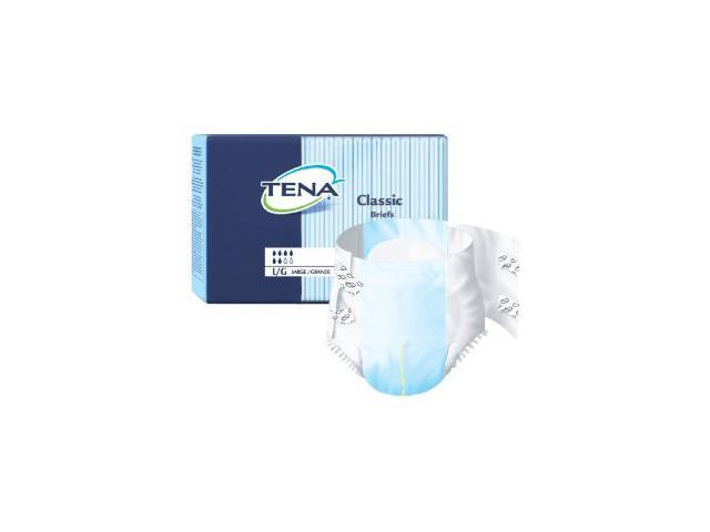 Tena Classic Adult Diapers, Size Large, Full case of 100 Briefs (259-7607)