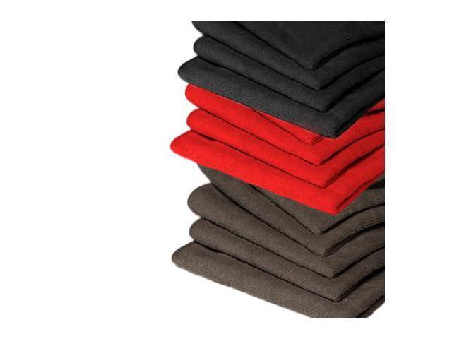 "GarageMate 10 Pack MicroFiber - Combo Colors (Black / Charcoal / Red) - 12"" x 16"" Towel"