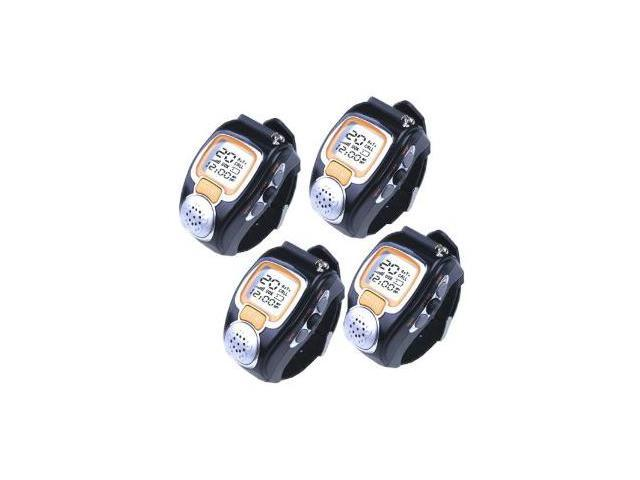 4 Pieces of AGPtek Pair Fashionable Radio Romote Talker Wristwatch Walkie Talkie Two-Way Digital Watch