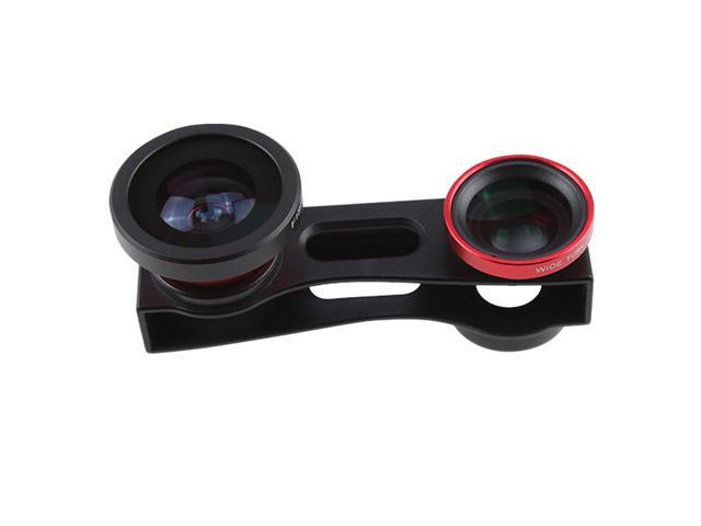 180° Fisheye Lens +Wide Angle Lens +Macro Lens 3-in-1 Red Kit for Apple iPhone 5 5G