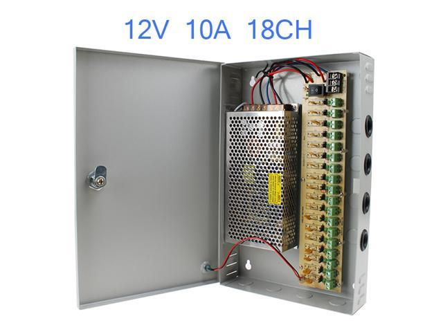 18 Channel CH CCTV Security Camera Power Supply Box 12 V 10A DC - Support Up to 18 Cameras