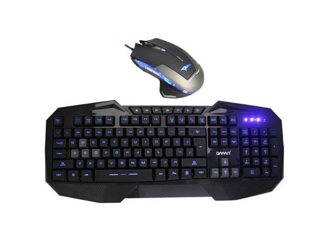 E-Blue Mazer 2500 DPI Blue LED Optical USB Wired Gaming Mouse + LED Multimedia Illuminated Backlit USB Wired Gaming Keyboard(Multimedia Shortcut Keys,Blue Backlight)