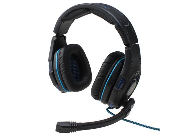 Sades SA-907 Stereo 7.1 Surround Professional Headset Pro Gaming Headphones - Black with Blue LED