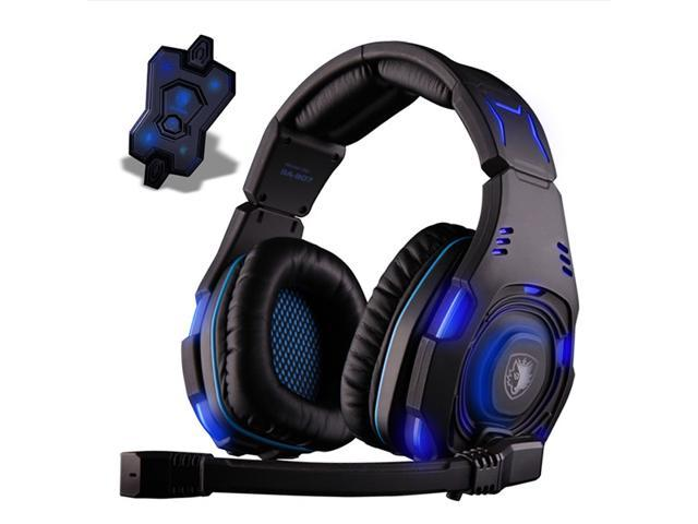 Sades SA-907 Over Ear Stereo 7.1 Surround Sound PC Gaming Headset & Music Headset - Blue LED,Noise Cancelling,Microphone
