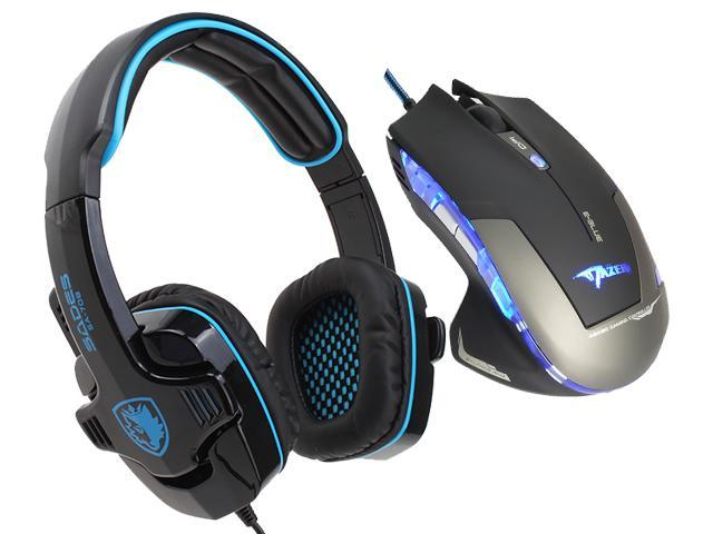 E-Blue Mazer 2500 DPI Blue LED Optical USB Wired Gaming Mouse+Sades SA-708 Stereo Circumaural Gaming Headset w/ Hidden Microphone
