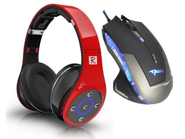 E-Blue Mazer 2500 DPI Blue LED Optical USB Wired Gaming Mouse+Bluedio R+ 8 Sound Tracks Bluetooth 4.0 Circumaural Wireless ...