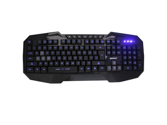 AGPtek Blue LED Backlight USB Multimedia Illuminated Gaming Keyboard
