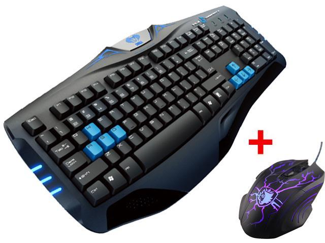 LED Illuminated Ergonomic USB Wired Blue Backlit Gaming Keyboard w/ 3500DPI Adjustable 4-Level DPI LED Gaming Game Mouse USB Mice for Desktop PC, Computer, Laptop, Notebook