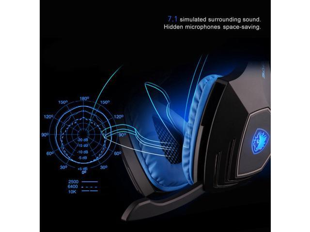 Sades A60 Over Ear 7.1 Surround Stereo Vibration Pro Gaming Headset  Headphone & Music Headset Headphone  with Hidden Mic ...