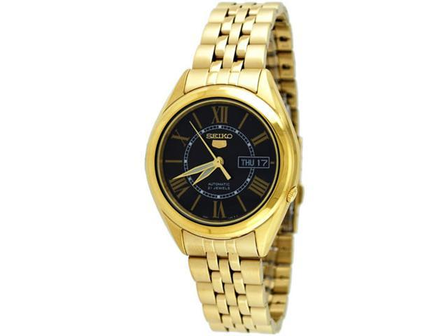 Seiko 5 SNKL40 Men's Stainless Steel Gold Black Dial Self Winding Automatic Watch
