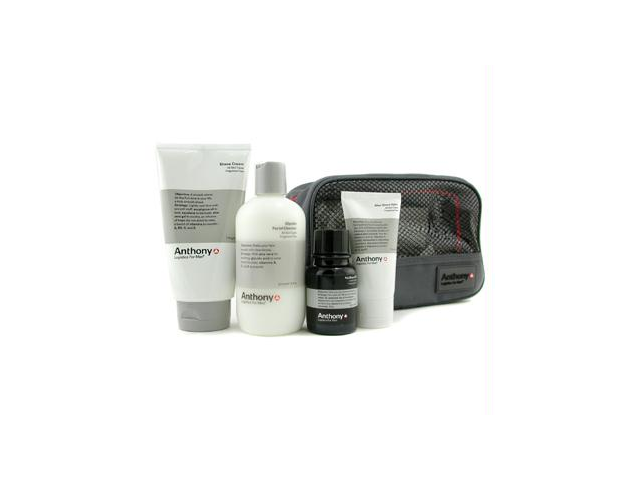 Logistics For Men The Perfect Shave Kit: Cleanser + Pre-Shave Oil + Shave Cream + After Shave Cream + Bag - 4pcs+1bag