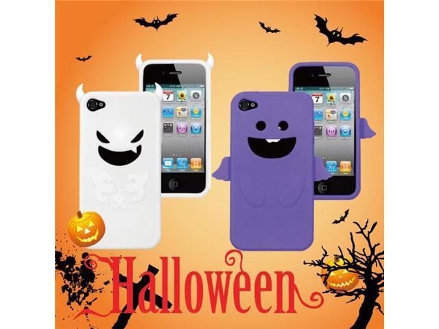[ZIYA] iPhone-4S/ 4G Silicon -Purple Angel Case + White Devil Case+ Screen Protector skin+ Candy Earphone