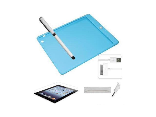 [CASE4U] Apple iPad-4 Silicon case -Blue (Colorful home button) + Screen Skin + Anti-dust Cap + Stylus + USB Cable