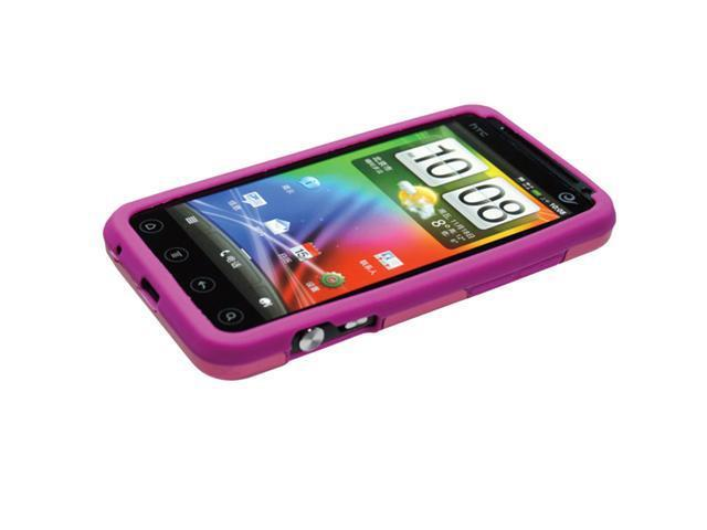 [CASE4U] HTC EVO 3D Metal Case- Pink (Silicon inner)+ Screen Protector Skin