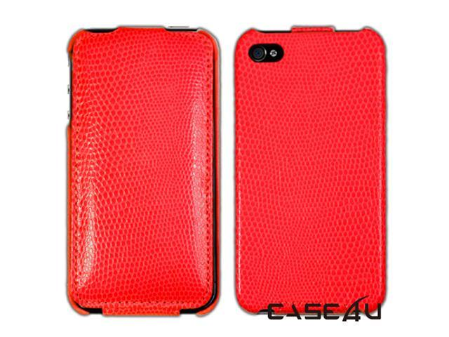 [CASE4U] iPhone-4S Leather Case- Red (Snake skin Pattern)+ Screen Protector Skin + Anti-dust cap + Wrap