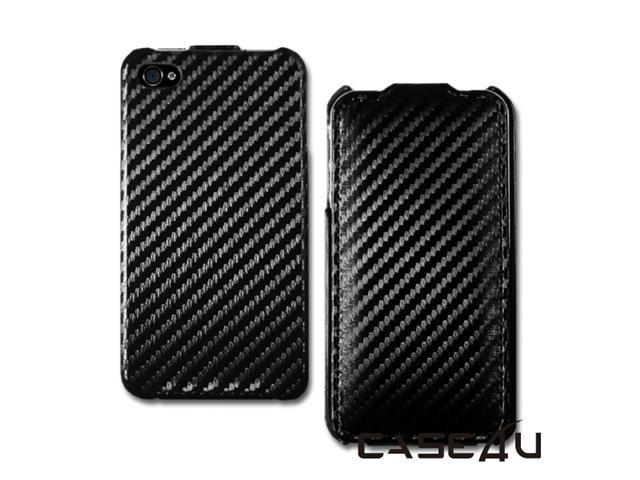 [CASE4U] iPhone-4S Leather Case- Black (Carbon Fiber)+ Screen Protector Skin + Anti-dust cap + Wrap