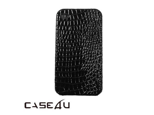 [CASE4U] iPhone-4S Back Case- Black (Crocodile/ Alligator skin Pattern)+ Screen Protector Skin + Anti-dust cap + Wrap