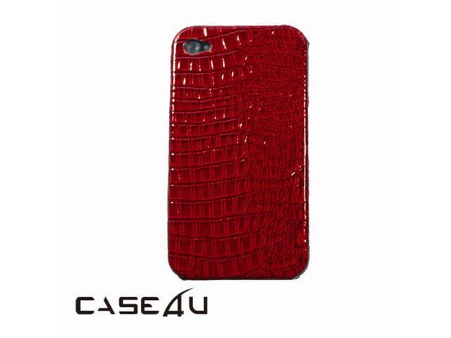 [CASE4U] iPhone-4S Back Case- Red (Crocodile/ Alligator skin Pattern)+ Screen Protector Skin + Anti-dust cap + Wrap