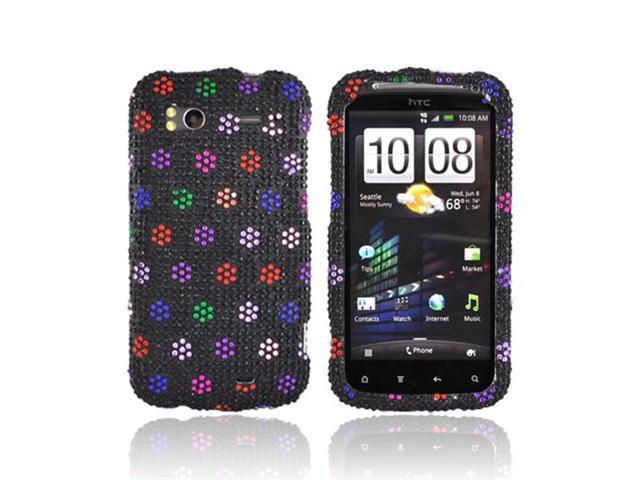 Rainbow Dots Black Bling Hard Plastic Snap On Case Cover For HTC Sensation 4G