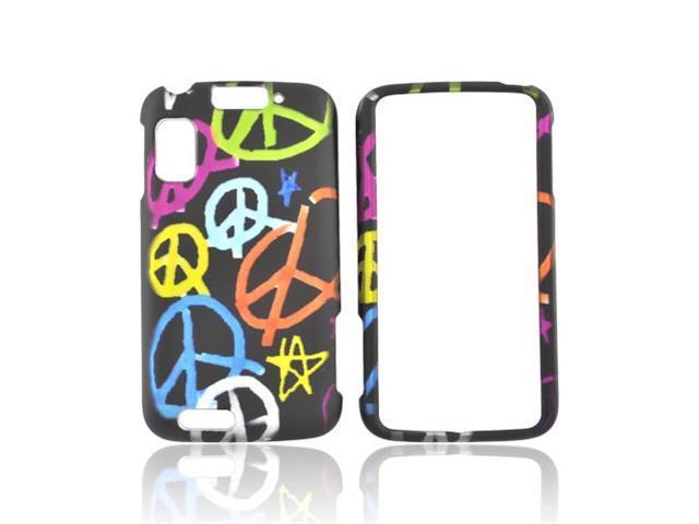 Colorful Peace Black Hard Rubberized Plastic Case Cover For Motorola Atrix 4G