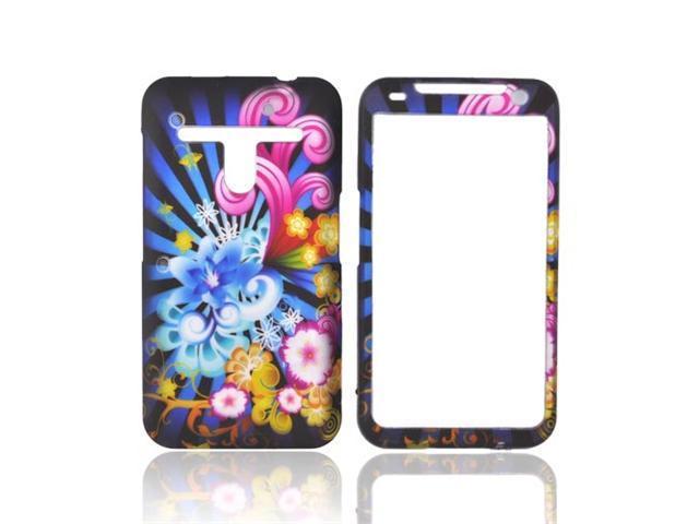 Rainbow Flowers Black Hard Rubber Plastic Case Cover For LG Revolution Esteem