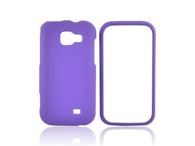 Purple Rubberized Hard Plastic Snap On Case Cover For Samsung Transform M920