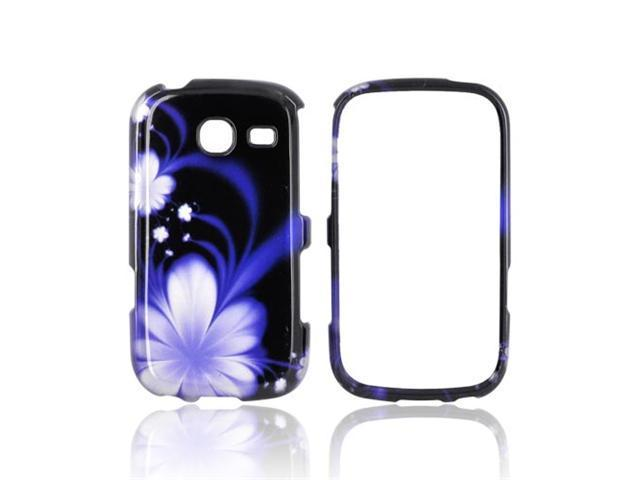 Slim & Protective Hard Case for Samsung Freeform 3 R380 - Purple Flowers on Black