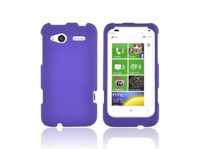 Purple Rubberized Hard Plsatic Case Snap On Cover For HTC Radar 4G