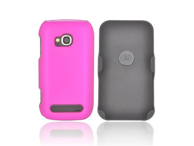 Black Rose Pink Rubberized Holster & Case Combo W Screen Protector, Swivel Belt Clip, & Stand For Nokia Lumia 710