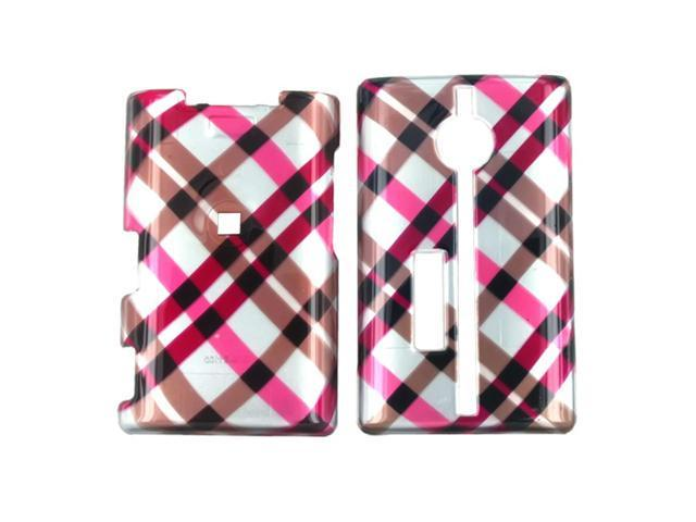 Kyocera Neo E1100 Plastic Case  - Checkered Diamonds of Pink  Hot Pink  Brown  Grey