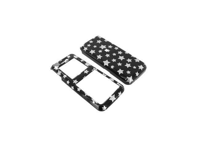 Samsung T119 Plastic Case  - Silver Stars on Black