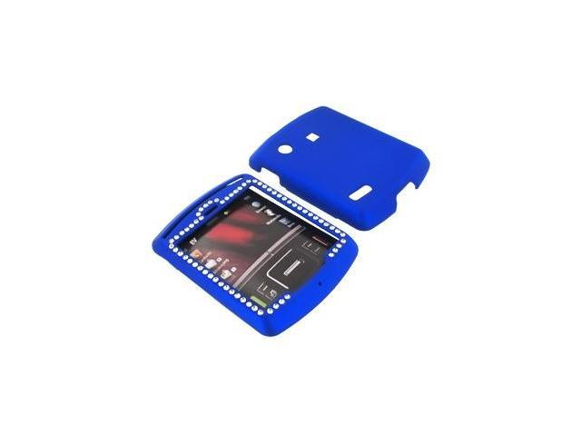 Motorola Hint QA30 Rubberized Plastic Case w/ Gems - Blue