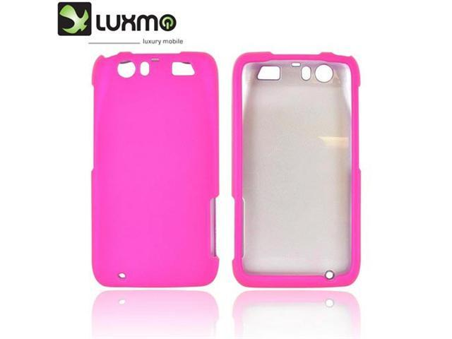 Motorola Atrix HD Rubberized Plastic Snap On Snap On Cover - Hot Pink