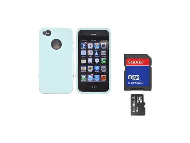 Rearth Combo W/iPhone 4s Steel Mint Silicone Case W/Steel Bumper, Lanyard, LCD Protector, & 8GB Micro SDHC Memory Card & Adapter