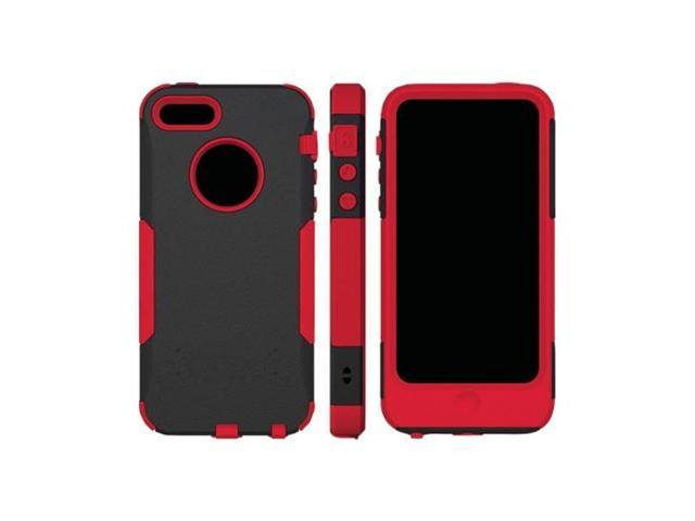 Red/ Black OEM Trident Aegis Apple Iphone 5 Hard Cover Over Rubbery Soft Silicone Skin Case W/ Screen Protector
