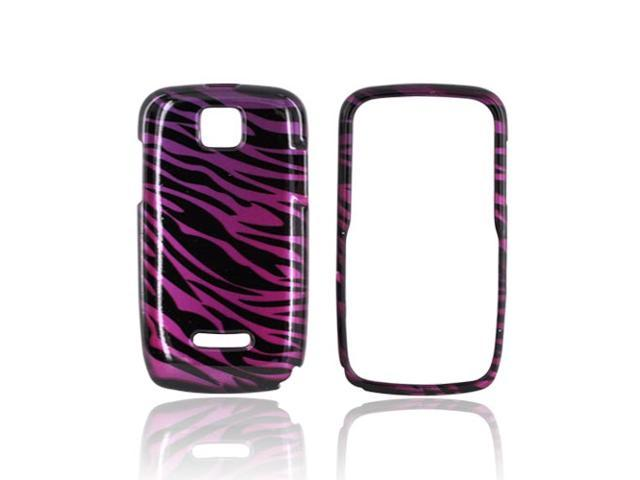 Slim & Protective Hard Case for Motorola Theory - Purple / Black Zebra