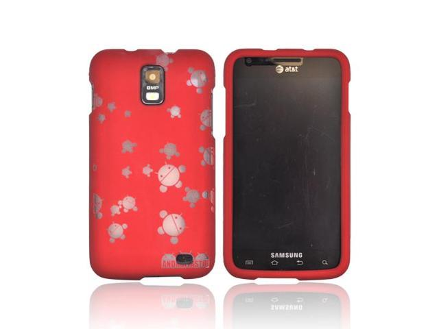Samsung Galaxy S2 Skyrocket Androitastic Rubberized Hard Case - Red Bubble Bot Invasion