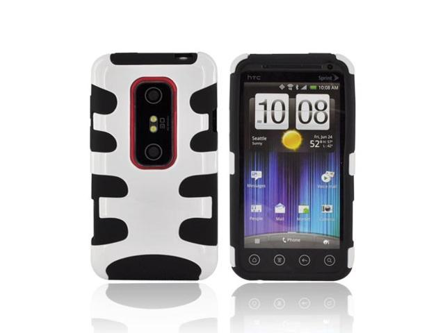 White Black Hard Rubberized Fishbone on Silicone Case For HTC EVO 3D