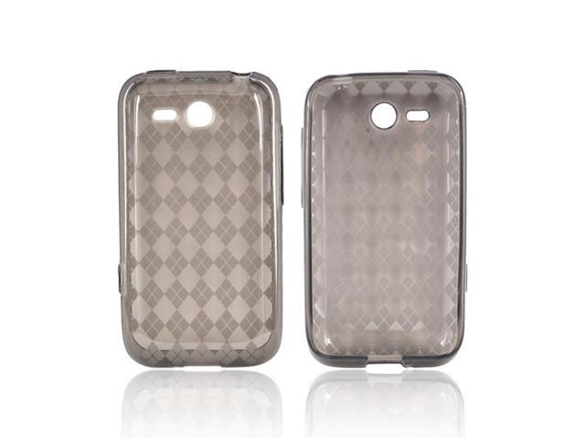 HTC Freestyle Crystal Rubbery Feel Silicone Skin Case Cover - Argyle Smoke