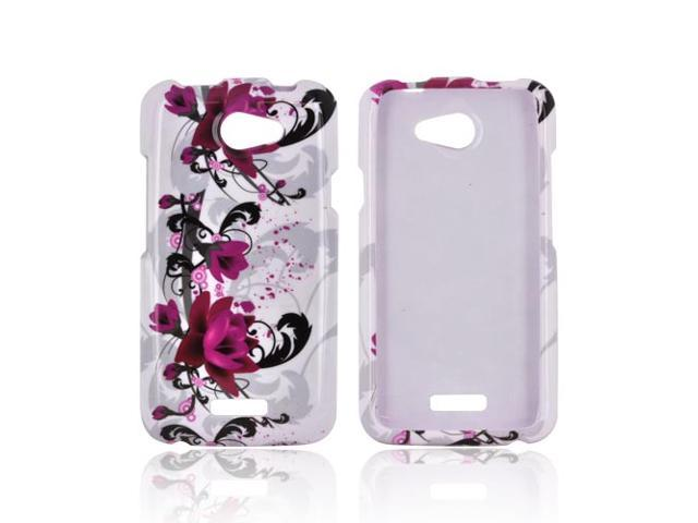 Slim & Protective Hard Case for HTC One X - Magenta Flowers & Black Vines on White