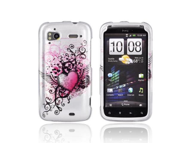 Slim & Protective Hard Case for HTC Sensation 4G - Pink Heart w/ Wings on Silver