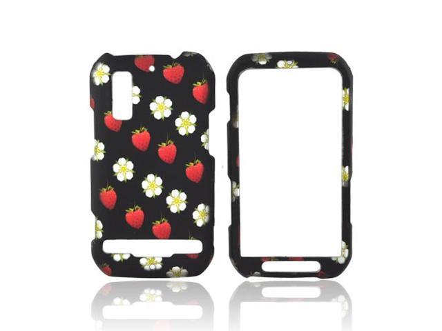 Strawberry Flowers Black Hard Plastic Snap On Case Cover For Motorola Photon 4G