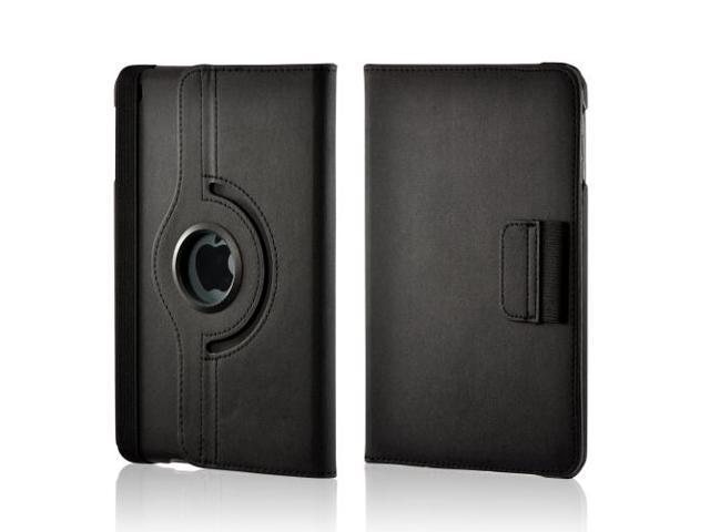 Black/ Gray Hard Plastic Case Snap On Cover W/ Flip Cover, Rotatable Shield Stand & Card Slots For Apple Ipad Mini