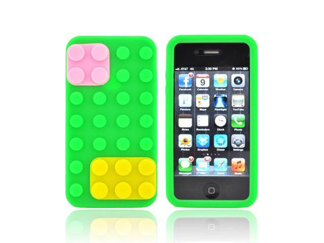 iPhone 4 Case, [Neon Green] Slim & Flexible Anti-shock Matte Reinforced Silicone Rubber Protective Skin Case Cover for